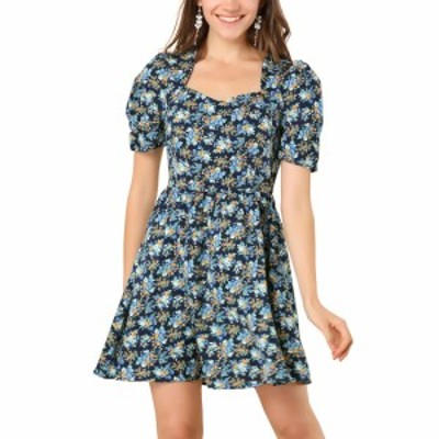Allegra K ミニワンピース ドレス 半袖 ビンテージ 花柄 フローラル aライン レディース ブルー S
