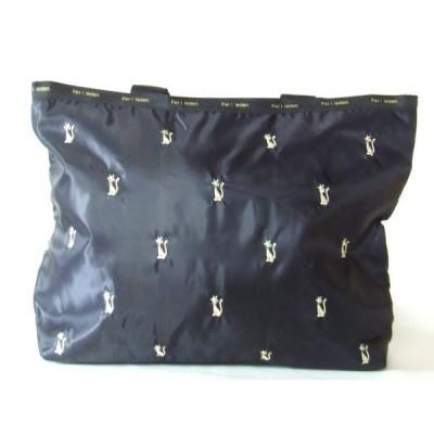 傘収納ポケット付き軽量猫刺繍トートバッグ黒