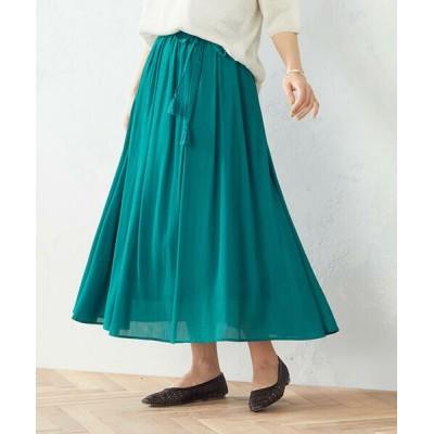 COMME CA ISM/コムサイズム 楊柳ロングスカート グリーン S