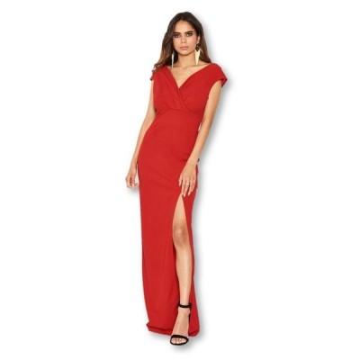 アックスパリ レディース ワンピース トップス Women's Wrap V-Neck Slit Maxi Dress