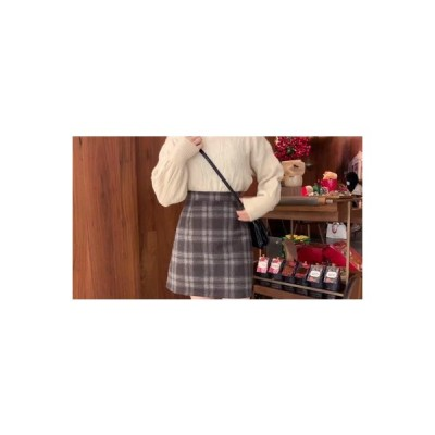 【送料無料】~ 韓国風 チェック柄スカート 学生 若くなる 何でも似合う ハイウエス   346770_A64235-6496747