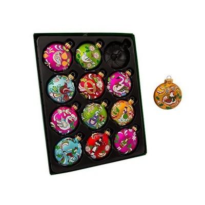 Kurt Adler 65MM 12 Days of Christmas Glass Ornament Set 12 Pieces並行輸入品