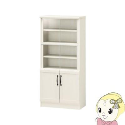 【メーカー直送】 白井産業 チェローネ ミニ カップボード 食器棚 幅55cm ホワイト 白木目 CEN-1255DGA