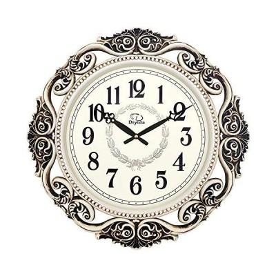 Wall Clock,Retro Hollow Elegant Metal Clock,Mute Resin Glass Mirror Digital Clarity/Silver / 50X50CM_並行輸入品