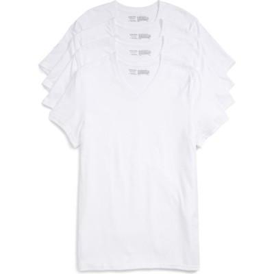 ノードストローム NORDSTROM メンズ Tシャツ 4点セット Vネック トップス 4-Pack Trim Fit Supima Cotton V-Neck T-Shirts White