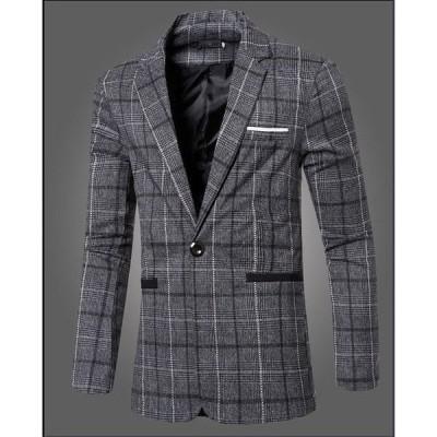 テーラードジャケット メンズ 配色 細身 シングル チェック柄 ビジネス 紳士服 大きいサイズ イギリス風