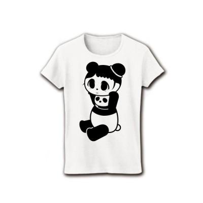 着ぐるみアイドルバイトぱんだ リブクルーネックTシャツ(ホワイト)