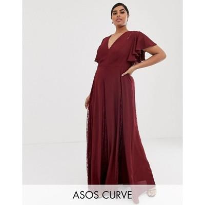 エイソス レディース ワンピース トップス ASOS DESIGN Curve maxi dress with lace godet inserts