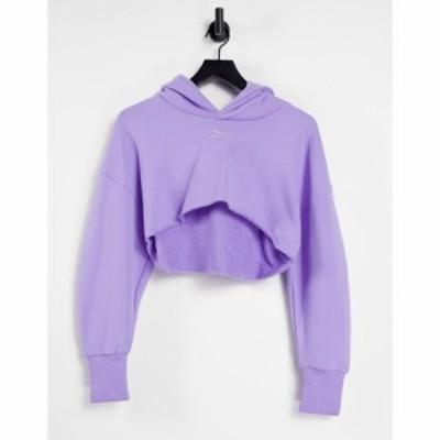 アディダス adidas Originals レディース パーカー クロップド トップス Reebok x Cardi B super cropped hoodie in Purple