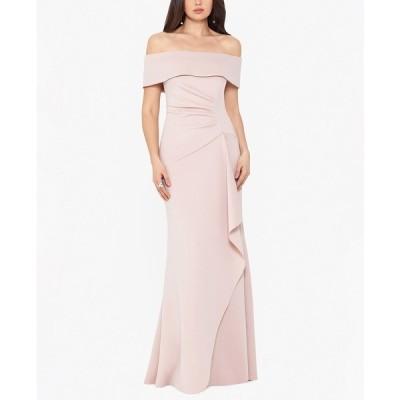 エスケープ ワンピース トップス レディース Ruffled Off-The-Shoulder Gown Blush