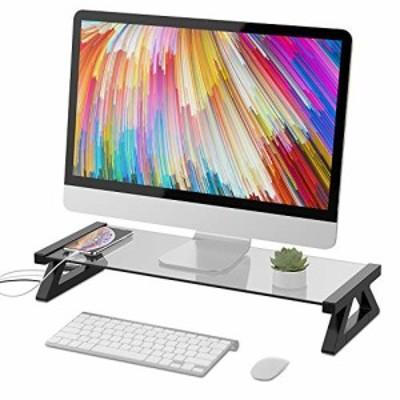 【送料無料】パソコン台 モニター台 机上台 デスクボード USBポート付き キーボード収納 強化ガラス 卓上 収納整理 (グレー)