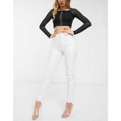 エイソス ASOS DESIGN レディース ジーンズ・デニム ボトムス・パンツ Ritson original mom jeans in white crinkle vinyl ホワイト