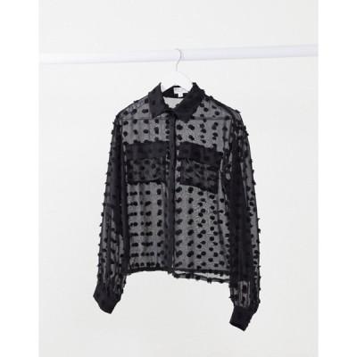 インザスタイル レディース シャツ トップス In The Style x Saffron Barker textured oversized sheer shirt in black