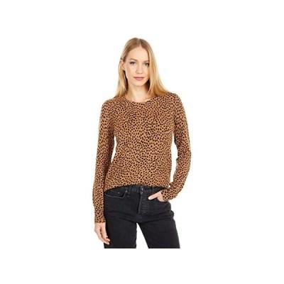 J.Crew Wild Cheetah Cashmere Crew Neck Sweater レディース セーター Burnished Timber Black