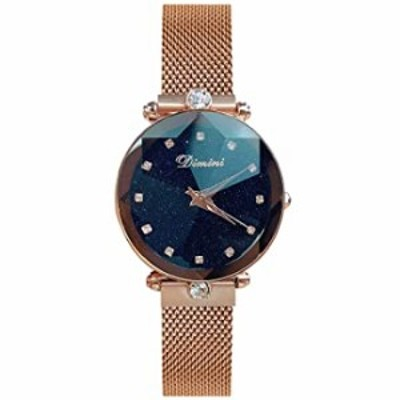 RORIOS Fashion Women Wristwatch Shining Starry Sky Dial Mesh Band Buckle Easily Use Simulated Diamond Ladies Watches