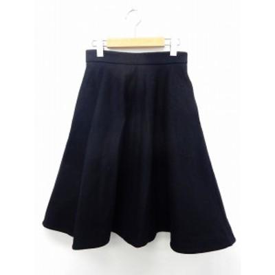 【中古】ジルスチュアート JILL STUART スカート 膝丈 フレア ウール バックジップ 0 紺 ネイビー /ST15 レディース