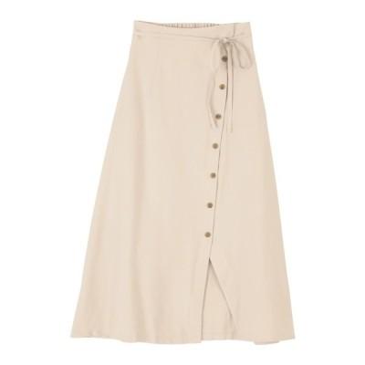 スカート フロントボタンデザインラップスカート