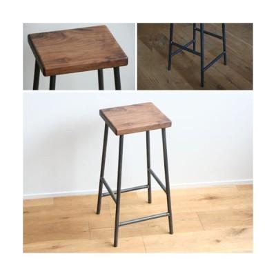 スツール おしゃれ 木製 北欧 アイアン 鉄とブラックウォルナット材Mサイズ(角)アンティーク 角椅子 カウンターチェアー ヴィンテージ 日本製