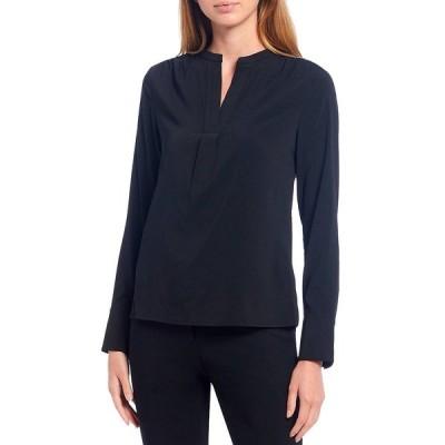 カルバンクライン レディース シャツ トップス Petite Size Georgette Banded Split V-Neck Long Sleeve Top Black