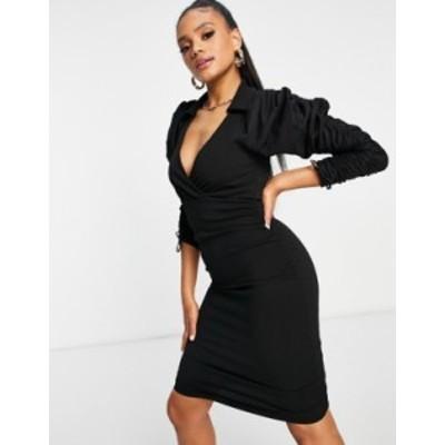 エイソス レディース ワンピース トップス ASOS DESIGN poplin mix ruched sleeve tux mini dress in black Black