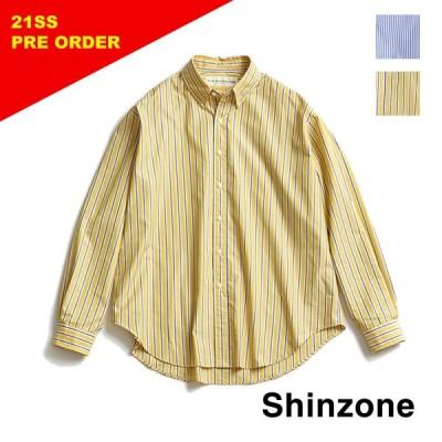 "THE SHINZONE シンゾーン ""DADDY SHIRT/ダディーシャツ"" ストライプビックシャツ 21SMSBL03"