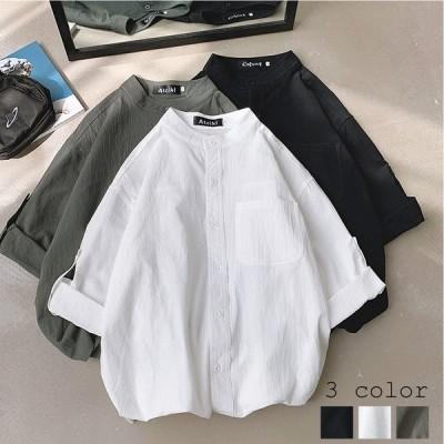 シャツ 七分袖 無地 半端袖 胸ポケット トップス レディースシャツ ブラウス