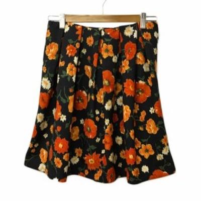 【中古】ロペ ROPE スカート フレア ミニ タック 花柄 38 黒 オレンジ ブラック レディース