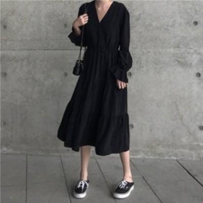 オルチャン 韓国 ファッション ワンピース ロング ティアード カシュクール ボリューム袖 フレア Vネック 長袖 ゆったり 大人可愛い