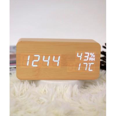 (ninon/ニノン)【置き時計】多機能LEDウッドクロック/レディース ベージュ系2