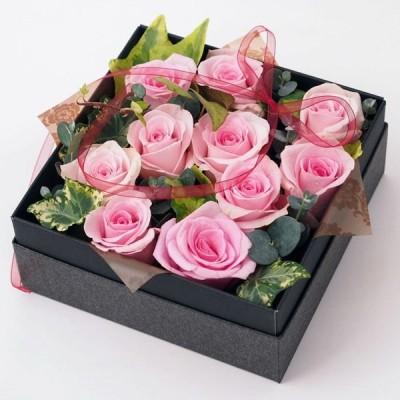 BOXフラワーアレンジメント【生花のバラのアレンジメント】(ピンク系バラ10輪入り)