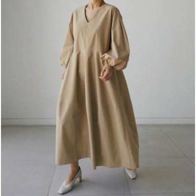 2020秋新作 Vネック レディース ワンピース ロング丈  には腰のゆるいサイズの綿麻のワンピースを収めることができます 長袖ロングスカート シャツワンピース レデ 大きいサイズ 通勤 韓国ファッシ