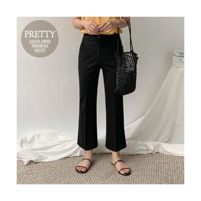 AWAB レディース パンツ Black linen Flared trousers