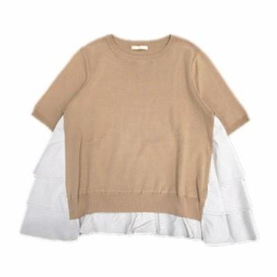 【中古】美品 クローラ crolla ストライプ 切替 フレア ニット セーター カットソー 半袖 丸首 ベージュ×白