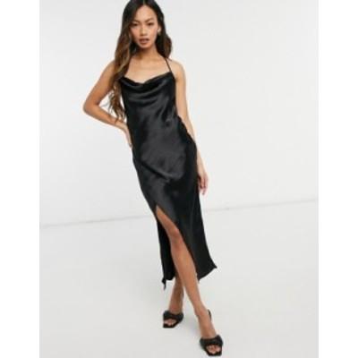エイソス レディース ワンピース トップス ASOS DESIGN satin slip Dress with strap detail in black Black