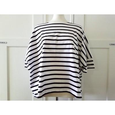 Le minor/ルミノア ドルマンワイドボーダーカットソー ホワイト×ブラック(blanc/noir) from style+confort