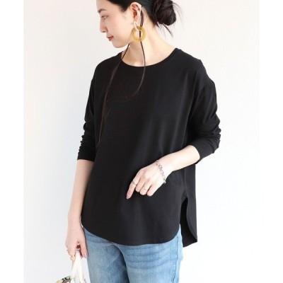 tシャツ Tシャツ コットンラウンドヘム長袖Tシャツ トップス