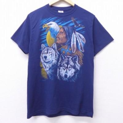 古着 半袖 ビンテージ Tシャツ 00年代 00s インディアン ワシ オオカミ クルーネック 紺 ネイビー Mサイズ 中古 メンズ Tシャツ 古着
