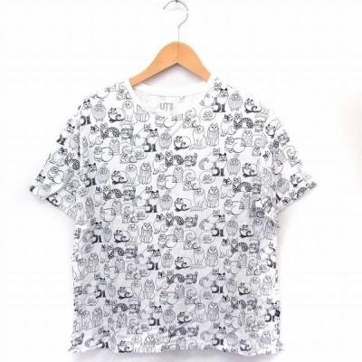 【中古】ユニクロ UNIQLO UT Lisa Larson Tシャツ カットソー プリント ネコ 丸首 半袖 コットン 綿 XL ホワイト 白 /FT21 レディース 【ベクトル 古着】