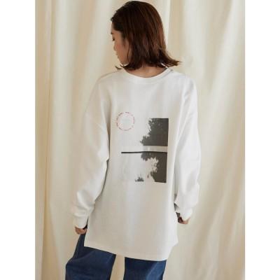 リップスター LIPSTAR 転写プリントスリットロングTシャツ (オフホワイト)