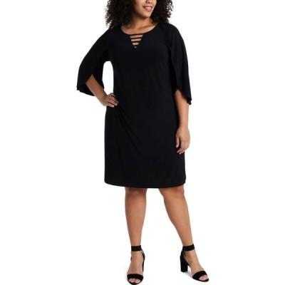 MSK レディース ワンピース 大きいサイズ シフトドレス ワンピース・ドレス Plus Size Split-Sleeve Shift Dress Black