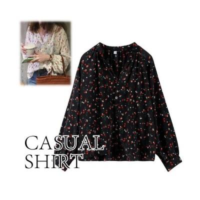 シャツ トップス オーバーサイズ 襟付き 花柄 レディース 春夏 かわいい カジュアル ホワイト ブラック フリーサイズ