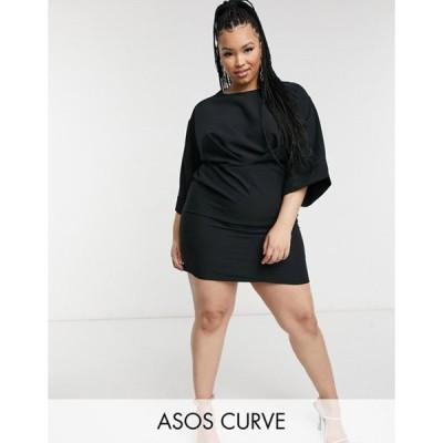 エイソス レディース ワンピース トップス ASOS DESIGN Curve kimono sleeve mini dress in black