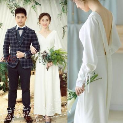 ウエディングドレス 背中空き wedding dress ファスナータイプ オーダーメイド可能 前撮り 後撮り 披露宴 結婚式【XS〜XL】【wd511】