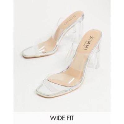 シミ Simmi Wide Fit レディース サンダル・ミュール シューズ・靴 Simmi London Wide Fit Heidi Double Strap Mules With Toe Plating I