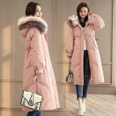 ダウンコート ダウンジャケット レディース 防寒着 冬服 フード付き ロングコート カジュアル 大きいサイズ アウター 暖かい 厚手 ミモレ丈 中綿コート 通勤