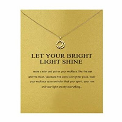 Brave Sun Moon Necklace Good Luck Friendship Compass Pendant Chain Y Necklace with Message Card Gift Card