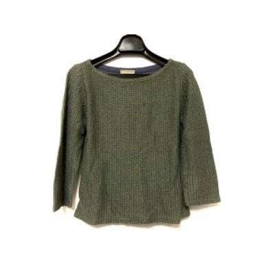 シビラ Sybilla 七分袖セーター サイズ40 XL レディース - パープル×グリーン クルーネック【中古】20210106