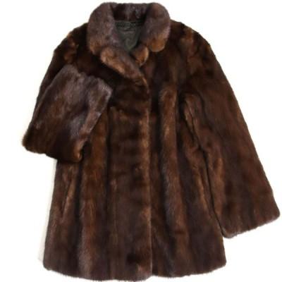 美品▼SAGA MINK サガミンク 裏地刺繍入り 本毛皮コート ダークブラウン 毛質艶やか・柔らか◎