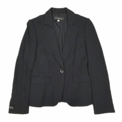 【中古】美品 ミッシェルクラン MICHEL KLEIN シングル テーラード ジャケット ブレザー アウター 38 黒 ブラック