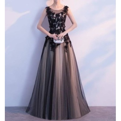 パーティードレス 結婚式 ロング 大きいサイズ 黒 シースルー 花柄 チュール セクシー ノースリーブ ハイウエスト お呼ばれ 二次会 演奏